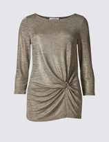 Marks and Spencer Metallic 3/4 Sleeve Jersey Top