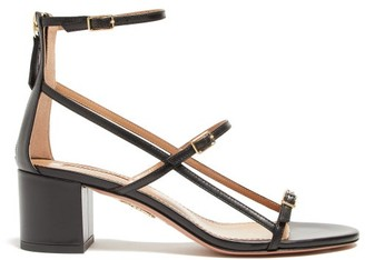 Aquazzura Supermodel 50 Buckled Leather Sandals - Womens - Black