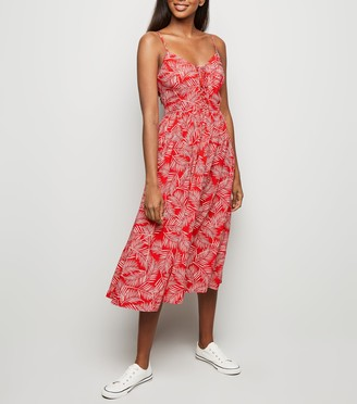 New Look Leaf Print Lace Up Front Dress