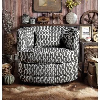 Three Posts Earle Swivel Barrel Chair Fabric: Brown/White