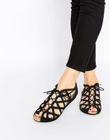 Park Lane Cut Out Gladiator Leather Flat Sandals