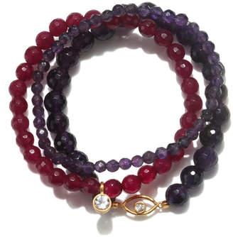Satya Jewelry Amethyst & Fuchsia Agate Gold Eye Stretch Bracelet Set