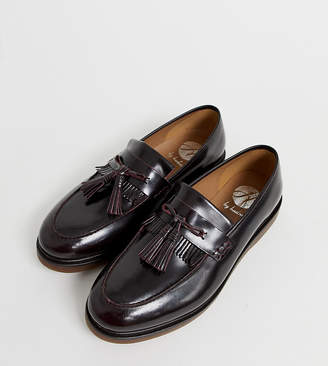 H By Hudson Wide Fit Calne loafers in burgundy high shine-Red
