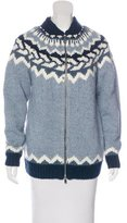 Maje Argyle Zip-Up Sweater