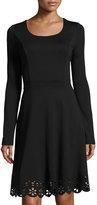 Neiman Marcus Fit & Flare Laser-Cut Hem Dress, Black, Plus Size