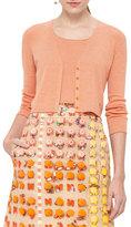Akris Punto Micro-Stripe Wool V-Neck Cropped Cardigan, Cream/Orange