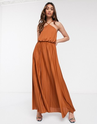 ASOS DESIGN halter neck pleated maxi dress in rust