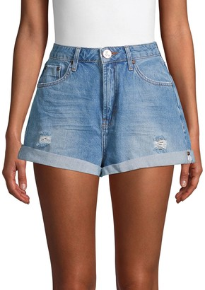 One Teaspoon Bandits High-Rise Distressed Denim Shorts