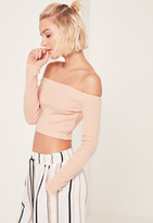 Missguided Nude Ribbed Bardot Long Sleeved Crop Top
