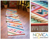 Novica Rainbow Cascade Zigzag with Butterfly Motifs Multicolor Handwoven Artisan Wool and Cotton Floor Runner Rug (Peru)