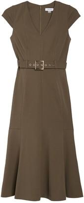 Calvin Klein V-Neck Cap Sleeve Belted Midi Dress