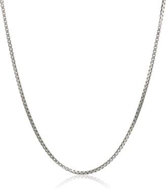 "Amazon Collection Sterling Silver Italian 0.8 mm Diamond Cut Box Chain Necklace 16"""