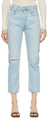 AGOLDE Blue Distressed Riley Straight Crop Jeans