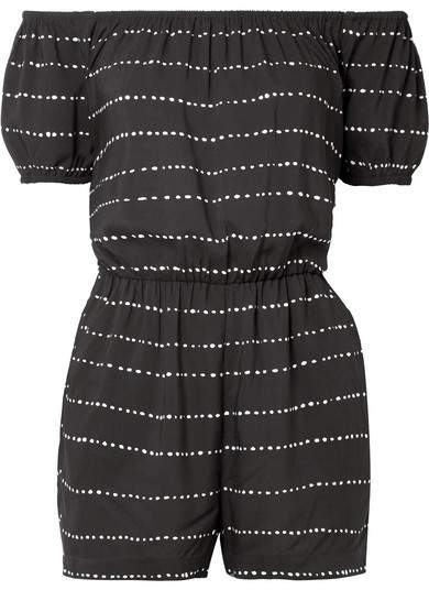 Vix Printed Voile Playsuit - Black