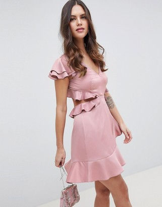 Asos Design DESIGN Ruffle Mini Dress In Rippled Satin With Cut Out Back-Pink