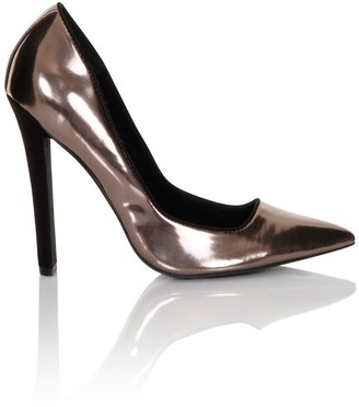 Paper Dolls Footwear Pewter Heel Court Shoes