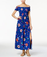 GUESS Fredrica Printed Smocked Off-The-Shoulder Maxi Dress