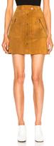 Maison Margiela Crust Leather Mini Skirt in Brown,Neutrals.