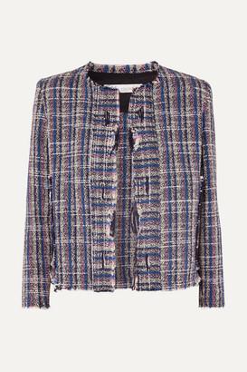 IRO Frannie Distressed Cotton-blend Tweed Jacket - Blue