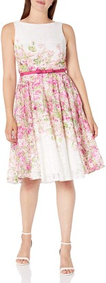 Gabby Skye Women's Floral Printed Fit and Flare Belted Dress Pink/Multi 12