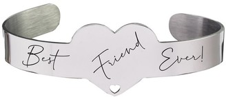 Inspirational Heart Cuff by Pink Box Best Friend Ever Silver