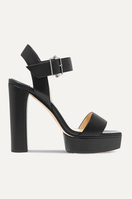 Jimmy Choo Maie 125 Crystal-embellished Leather Platform Sandals - Black