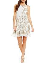Belle Badgley Mischka Macey Sleeveless Embroidered Dress