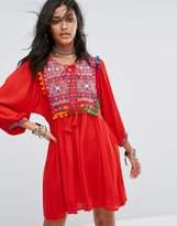 Glamorous Smock Dress With Mirror Embroidery And Pom Pom Trim