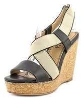 Splendid Kellen Women Open Toe Leather Black Wedge Sandal.