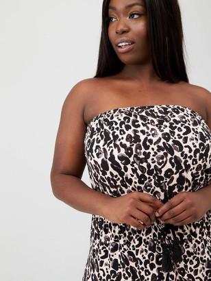 V By Very Curve Bandeau Jersey Maxi Dress - Animal Print