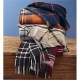 Mud Pie Womens Plaid Reversible Blanket Scarf Acrylic Knit