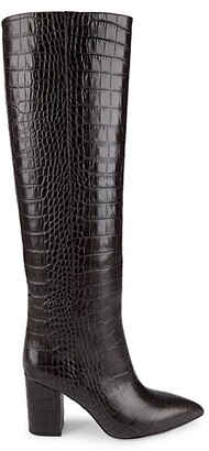 Paris Texas Knee-High Croc-Embossed Leather Boots