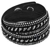 Swarovski Slake Pulse Black Crystal-Accented Leather Wrap Bracelet