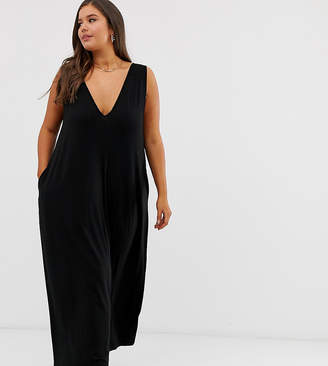 Asos DESIGN Curve plunge trapeze maxi dress