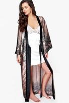 Boohoo Aimee Paisley Satin Maxi Kimono Night Robe mink