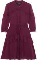 Saloni Tilly Ruffle-Trimmed Embroidered Silk Mini Dress