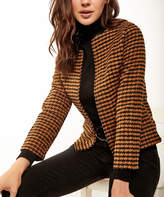 BEIGE New Laviva Women's Blouses  Houndstooth Open Blazer - Women