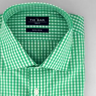 Tie Bar Gingham Green Non-Iron Dress Shirt