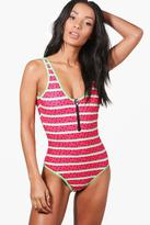 boohoo Singapore Watermelon Zip Front Swimsuit red