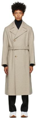 AURALEE Beige and Grey Light Melton Double-Breasted Coat