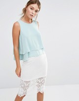 Darling Overlay Top With Pearl Details