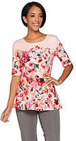 Isaac Mizrahi Live! Floral Print Elbow SleevePeplum Top