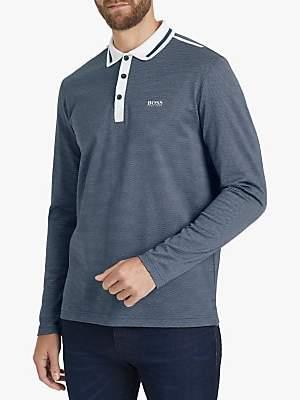 HUGO BOSS BOSS Plisy 2 Long Sleeve Polo Shirt, Navy
