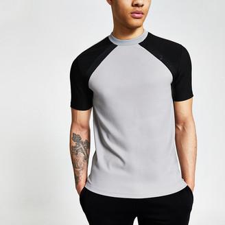 River Island Maison Riviera grey raglan slim fit T-shirt