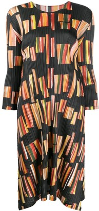 Pleats Please Issey Miyake Pleated Abstract Print Dress
