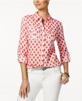 Charter Club Linen Roll-Tab Printed Shirt, Only at Macy's