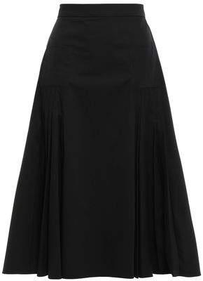Rochas Pleated Stretch Cotton-gabardine Skirt