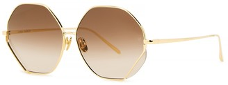 Linda Farrow Luxe Fawcet 22kt gold-plated hexagon-frame sunglasses