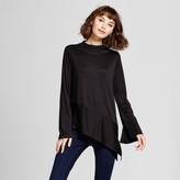 Mossimo Women's Asymmetrical Mock Neck Long Sleeve T-Shirt Black