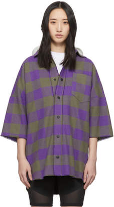 Palm Angels Purple and Grey Hooded Logo Overshirt